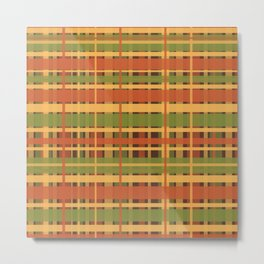 Retro Plaid - Mid Century Modern 50s 60s 70s Pattern in Green, Orange, Yellow, and Brown Metal Print