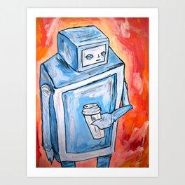 sleepy robot Art Print