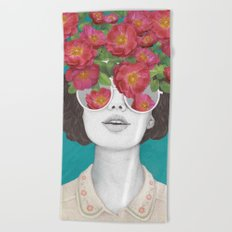 The optimist // rose tinted glasses Beach Towel