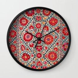 Kermina Suzani Uzbekistan Embroidery Print Wall Clock