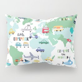 Travel The World Trains Planes Cars Trucks Map Pillow Sham