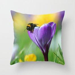 Bumble Bee on Crocus Throw Pillow