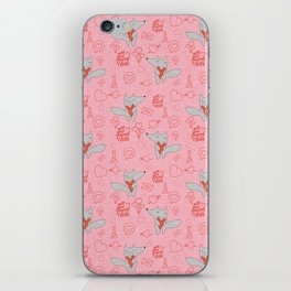 Fox in love pink Hearts iPhone Skin