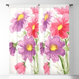 Pink and Purple Cosmos Blackout Curtain
