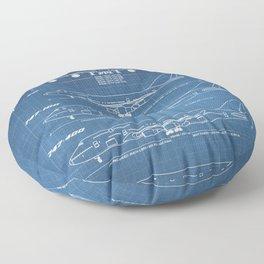 Boeing 747 Family Blueprint in High Resolution (light blue) Floor Pillow