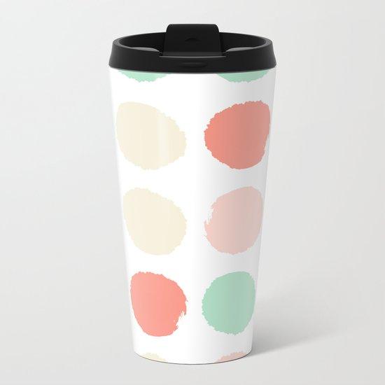 Abstract minimal polka dots pastels painted trendy modern color palette Metal Travel Mug