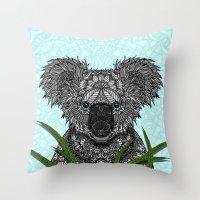 koala Throw Pillows featuring Koala by ArtLovePassion