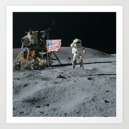 Apollo 16 - Astronaut Moon Jump Art Print