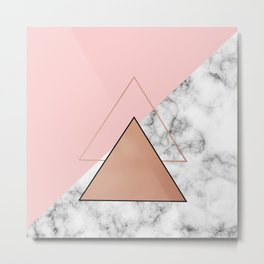 Rose gold triangle and marble Metal Print