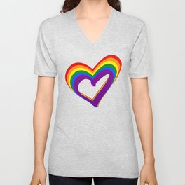 Colorful Rainbow Heart LGBT Gay Love Pride Support Unisex V-Neck