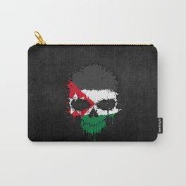 Flag of Jordan on a Chaotic Splatter Skull Carry-All Pouch