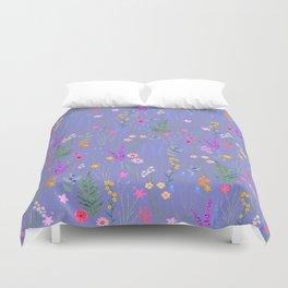 blue meadows colorful floral pattern Duvet Cover