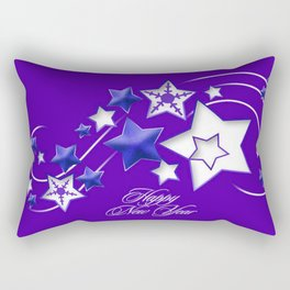 Blue and Purple Happy New Year Shooting Stars  Rectangular Pillow