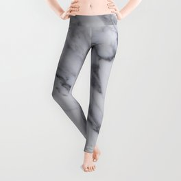 Marble - Black and White Gray Swirled Marble Design Leggings