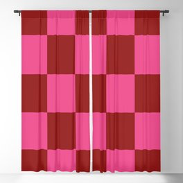 Red and Pink Checker Leviathan Blackout Curtain