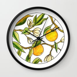 Orange Tree Circular Illustration Design Wall Clock