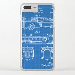 Fire Truck Patent - Aerial Fireman Truck Art - Blueprint Clear iPhone Case