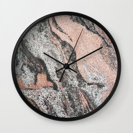 Pastel coral gray white abstract vintage marble Wall Clock