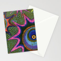 Starburst and polkadots batik Stationery Cards