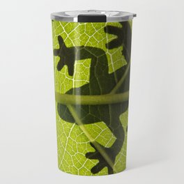 Frog on leaf against backlight Travel Mug