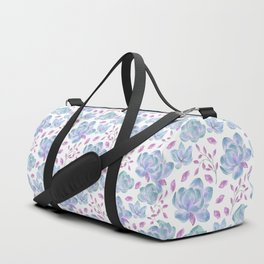 Hand painted pink teal lilac watercolor floral pattern Duffle Bag