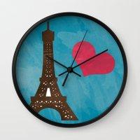 eiffel Wall Clocks featuring Eiffel by Daniela Marti