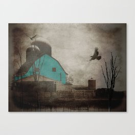 Rustic Teal Barn Country Art A158 Canvas Print