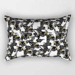 just penguins black white yellow Rectangular Pillow