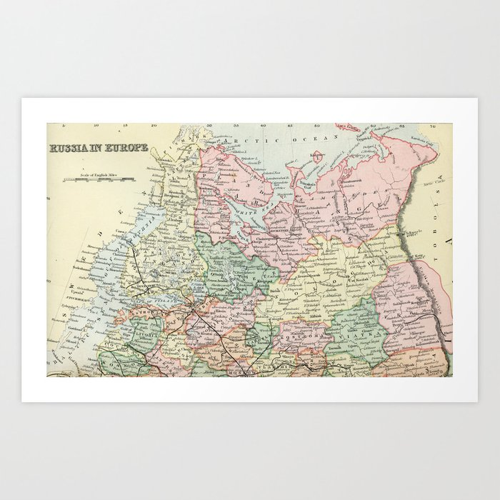 Russia in Europe Vintage Encyclopedia Map Art Print by graphikz ...