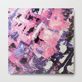 Love yourself pink purple abstract modern acrylic brushstrokes painting Metal Print