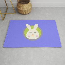 Cute rabbit head with blue circle Rug
