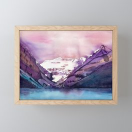 Coloful Lake Louise // Traditional watercolor painting Framed Mini Art Print