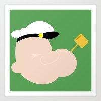 popeye Art Prints featuring 4menSmoking - Popeye by blaf