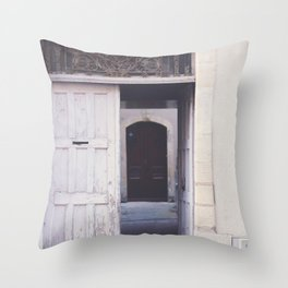 Cottage Doors in Bayeux Throw Pillow
