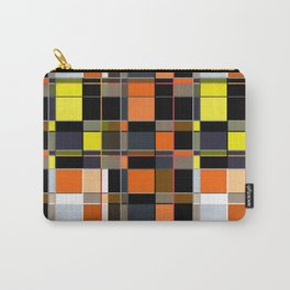 An abstract geometric pattern. Orange , brown ,yellow-cage . Carry-All Pouch