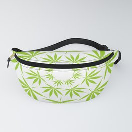 Cannabis Leaf Circle (White) Fanny Pack