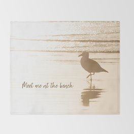 Meet Me at the Beach (typography) Throw Blanket