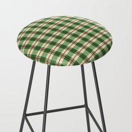 Plaid Pattern in Green and Beige Bar Stool
