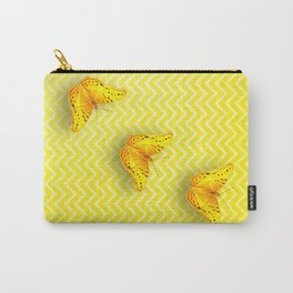 Butterflies on buttercup yellow chevron pattern Carry-All Pouch