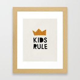 Kids Rule, Mid century modern kids wall art, Nursery room Framed Art Print