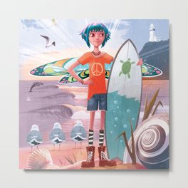 The Adventures of Lola and the Ocean Monster Metal Print