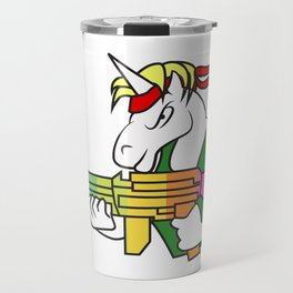 Unicorn  fighter soldier muscles weapon shooting rainbow rambo gift idea Travel Mug