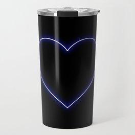 Neon Blue Valentines Love Heart Travel Mug