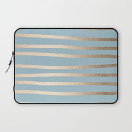 Abstract Drawn Stripes Gold Tropical Ocean Sea Blue Laptop Sleeve