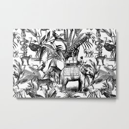 Africa Meets India Black And White Metal Print