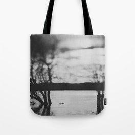 Two ducks swimming in lake at dusk Tote Bag