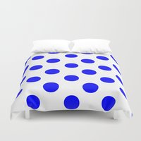 polka Duvet Covers featuring Polka Dots (Blue/White) by 10813 Apparel