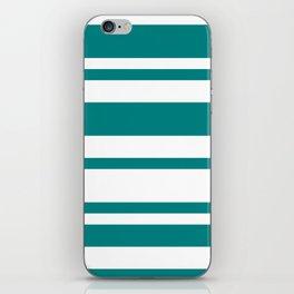 Mixed Horizontal Stripes - White and Dark Cyan iPhone Skin