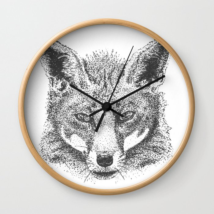 Skeptical Fox Wall Clock