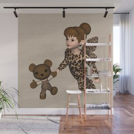 Little Girl Fairy Baby Bear Wall Mural